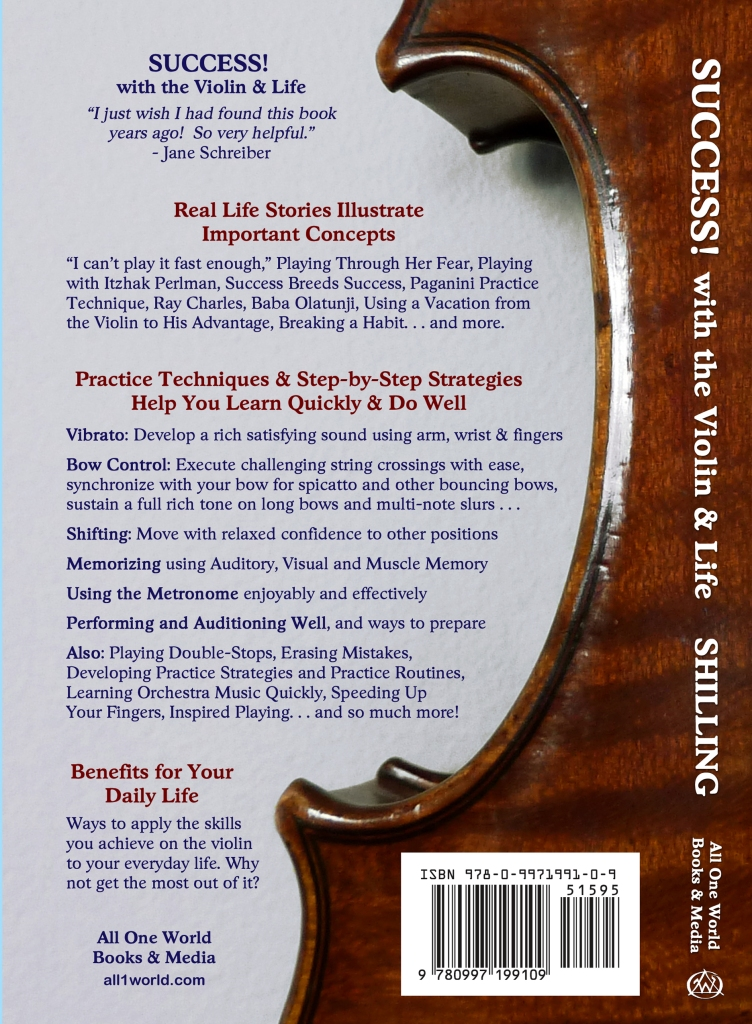 SUCCESS with the Violin and Life -- back cover