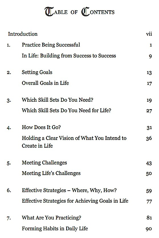 Table of Contents-SUCCESS the Violin and Life-p1